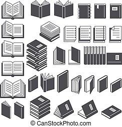 ベクトル, illustration., アイコン, set., 本, 線