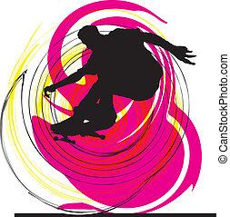 ベクトル, illustration., スケーター