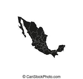 ベクトル, illustration., ボーダー, 州, メキシコの地図, map.