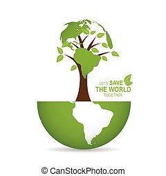 ベクトル, illustration., ポスター, 地球, 木。, デザイン, テンプレート, 世界, を除けば