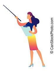 ベクトル, illustration., 女性実業家, クリップボード, 保有物, ポインター, ショー