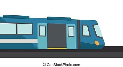 ベクトル, illustration., 現代, 高く, 列車, スピード