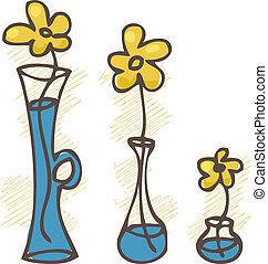 ベクトル, illustration., 花, 中に, vases., セット