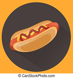 ベクトル, illustration., hot-dog