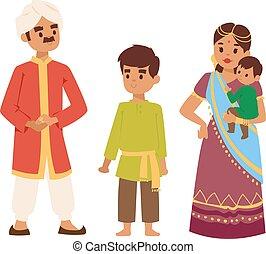 ベクトル, indian, イラスト, 人々