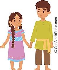 ベクトル, indian, イラスト, 子供