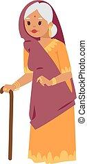 ベクトル, indian, イラスト, 祖母