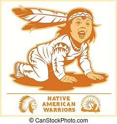 ベクトル, indian, kid., illustration.