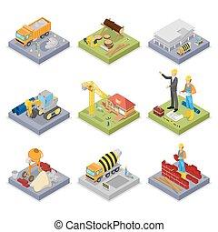 ベクトル, industry., 等大, 産業, 建物。, 平ら, ミキサー, 建設, イラスト, クレーン, 労働者...