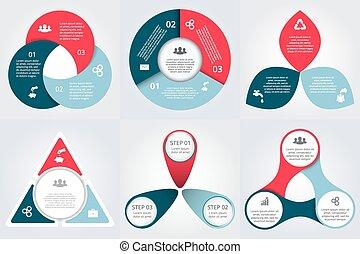 ベクトル, infographic., セット, 円, 要素