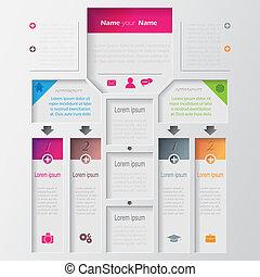 ベクトル, infographic, デザイン, multilevel, テンプレート