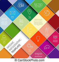 ベクトル, infographic, raiinbow, モザイク, テンプレート