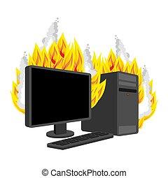 ベクトル, isolated., 燃焼, 火, computer., コンピュータ, プロセッサ, データ