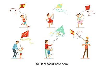 ベクトル, kite., 子供, ハエ, illustrations., セット