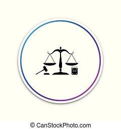 ベクトル, law., 概念, スケール, オークション, 正義, シンボル, justice., 隔離された, 法的, シンボル。, バックグラウンド。, 本, イラスト, 小槌, 白, 法律, 円, button., アイコン