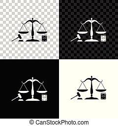 ベクトル, law., 概念, スケール, オークション, 正義, シンボル, justice., 隔離された, 法的, シンボル。, バックグラウンド。, 本, イラスト, 小槌, 黒, 白, 法律, 透明, アイコン