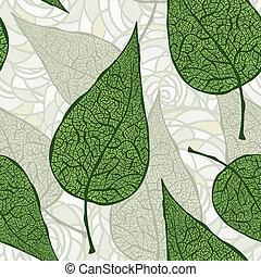 ベクトル, leafs, 緑, seamless, 型