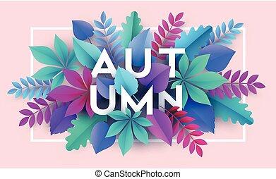 ベクトル, leaves., イラスト, 秋, ペーパー, 背景, 秋, 旗