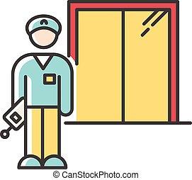 ベクトル, liftman., 色, ホテル, 寄宿舎, employee., security., guard., 寮...