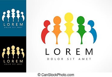 ベクトル, logo., illustration., 人々