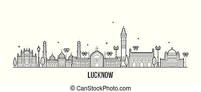 ベクトル, lucknow, インド, スカイライン, pradesh, 都市, uttar