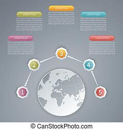 ベクトル, map., 5, infographic, ステップ, テンプレート, 世界, 3d