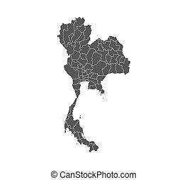 ベクトル, map., illustration., ボーダー, 州, 地図, タイ