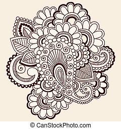 ベクトル, mehndi, doodles, 入れ墨, henna