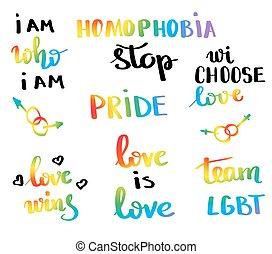 ベクトル, movement., 概念, スローガン, ゲイの権利, 平和, 同性愛, 誇り, 多彩, lgbt, 旗, 書かれた, デザイン, インスピレーションを与える, emblem., 印刷, poster., 手, lettering.