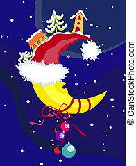 &, ベクトル, new-year's, クリスマス, 月