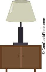 ベクトル, nightstand, バックグラウンド。, イラスト, 白, ランプ