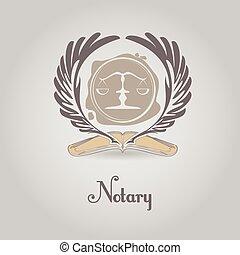 ベクトル, notary, テンプレート, ロゴ, 法的, organization.