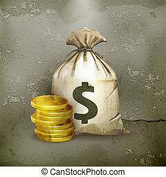 ベクトル, old-style, moneybag