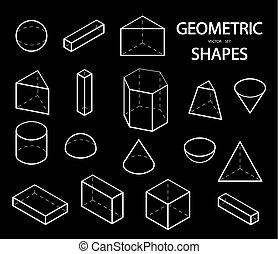 ベクトル, outline., 等大, セット, math., 幾何学, 科学, shapes., 隔離された, views., バックグラウンド。, オブジェクト, イラスト, 白, 3d, 幾何学的, 線である
