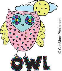 ベクトル, owl., 図画, イラスト