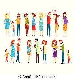 ベクトル, parenthood., セット, born., women., 人々, 医者, 父, 若い, 平ら, 妊娠した, 赤ん坊, s, families., デザイン, 期待, 母, レセプション。, 女の子, 漫画, child.