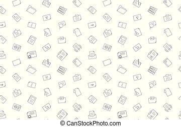 ベクトル, pattern., 文書, 背景, seamless