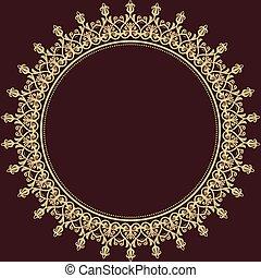 ベクトル, pattern., 東洋, 背景, ダマスク織