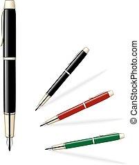 ベクトル, pens., セット, 有色人種, イラスト