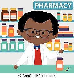 ベクトル, pharmacy., カウンター, 薬剤師, イラスト