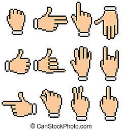 ベクトル, pictograms, ピクセル, signs., 手