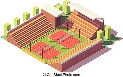 ベクトル, poly, テニス, 低い, 競技場
