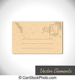ベクトル, postcard., 汚された, elemen, ペーパー, レトロ, 横