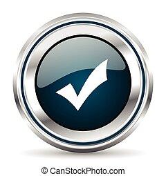 ベクトル, pushbutton., ラウンド, クロム, icon., button., 網, 金属, 銀, ボーダー