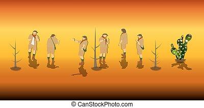 ベクトル, safari., セット, illustration., 観光客
