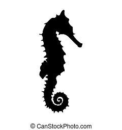 ベクトル, seahorse, 黒
