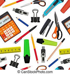 ベクトル, seamless, パターン, から, 別, 学校, accessories., 学校に戻って, イラスト