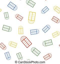 ベクトル, seamless, 色, バックグラウンド。, パターン, 白, 隔離された, アイコン, 窓