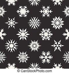 ベクトル, seamless, 黒い、そして白い, 雪ははげる, 装飾, パターン
