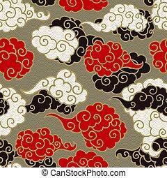 ベクトル, seamless, pattern., 煙雲, 中国語